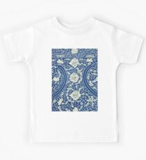White And Blue Vintage Bohemian Gypsy Style Popular Retro Floral Patterns Kids Tee