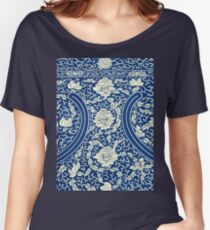 White And Blue Vintage Bohemian Gypsy Style Popular Retro Floral Patterns Women's Relaxed Fit T-Shirt