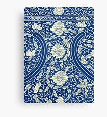 White And Blue Vintage Bohemian Gypsy Style Popular Retro Floral Patterns Canvas Print