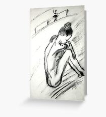Ballerina - charcoal on paper Greeting Card