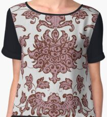 Stylish Retro Floral Patterns - Vintage Asian Traditional Oriental Pattern Collection In Dark Red And White Chiffon Top