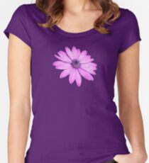 Single Pink African Daisy Against Green Foliage Isolated Women's Fitted Scoop T-Shirt