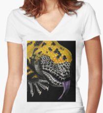 Gila-Monster Tailliertes T-Shirt mit V-Ausschnitt