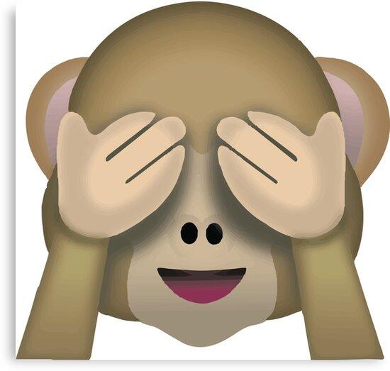 sieh keinen b sen affen emoji leinwanddrucke von. Black Bedroom Furniture Sets. Home Design Ideas