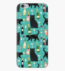 Black cat wine champagne cocktails cat breeds cat lover pattern art print by PetFriendly iPhone Case