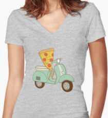 pizza delivery Women's Fitted V-Neck T-Shirt