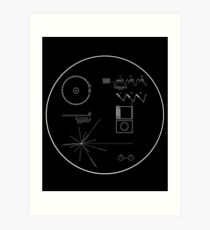 Voyager Golden Record White Lines Art Print