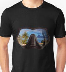 Diving Mask Scuba Diver Tropical Island Unisex T-Shirt
