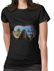 Diving Mask Scuba Diver Tropical Island Womens Fitted T-Shirt