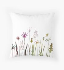 Meadow wild flowers, grasses and plants in watercolor style Throw Pillow