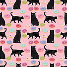 Black cat donuts cat breeds cat lover pattern art print cat lady must have by PetFriendly by PetFriendly