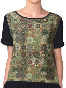Vintage patchwork with floral mandala elements Chiffon Top
