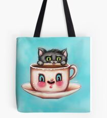 Cute Cat & Creepy Coffee Cup Tote Bag