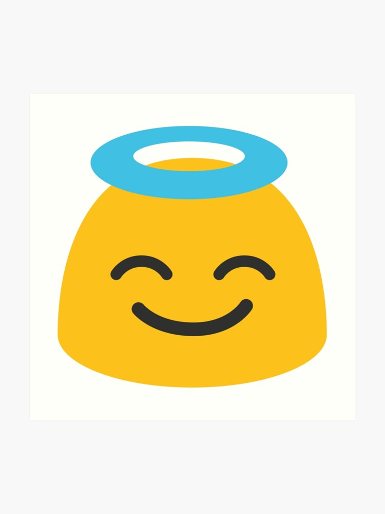 Smiling face with halo emoji | Art Print