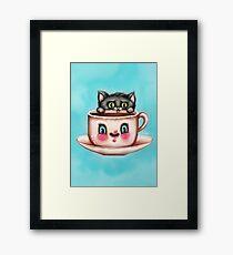 Cute Cat & Creepy Coffee Cup Framed Print