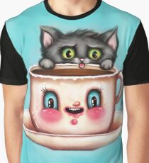 Cute Cat & Creepy Coffee Cup Graphic T-Shirt