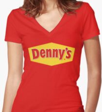 denny's burger Women's Fitted V-Neck T-Shirt