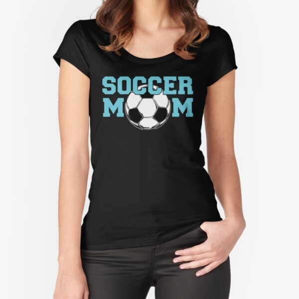 Soccer Mom - Blue text Fitted Scoop T-Shirt