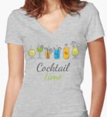 Cocktail Time Drink Text Funny Sentence Women's Fitted V-Neck T-Shirt