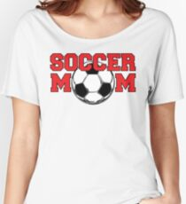 Soccer Mom - Red text Women's Relaxed Fit T-Shirt