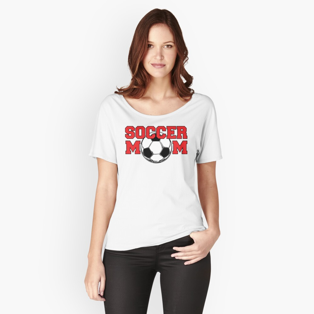Soccer Mom - Red text Women's Relaxed Fit T-Shirt Front