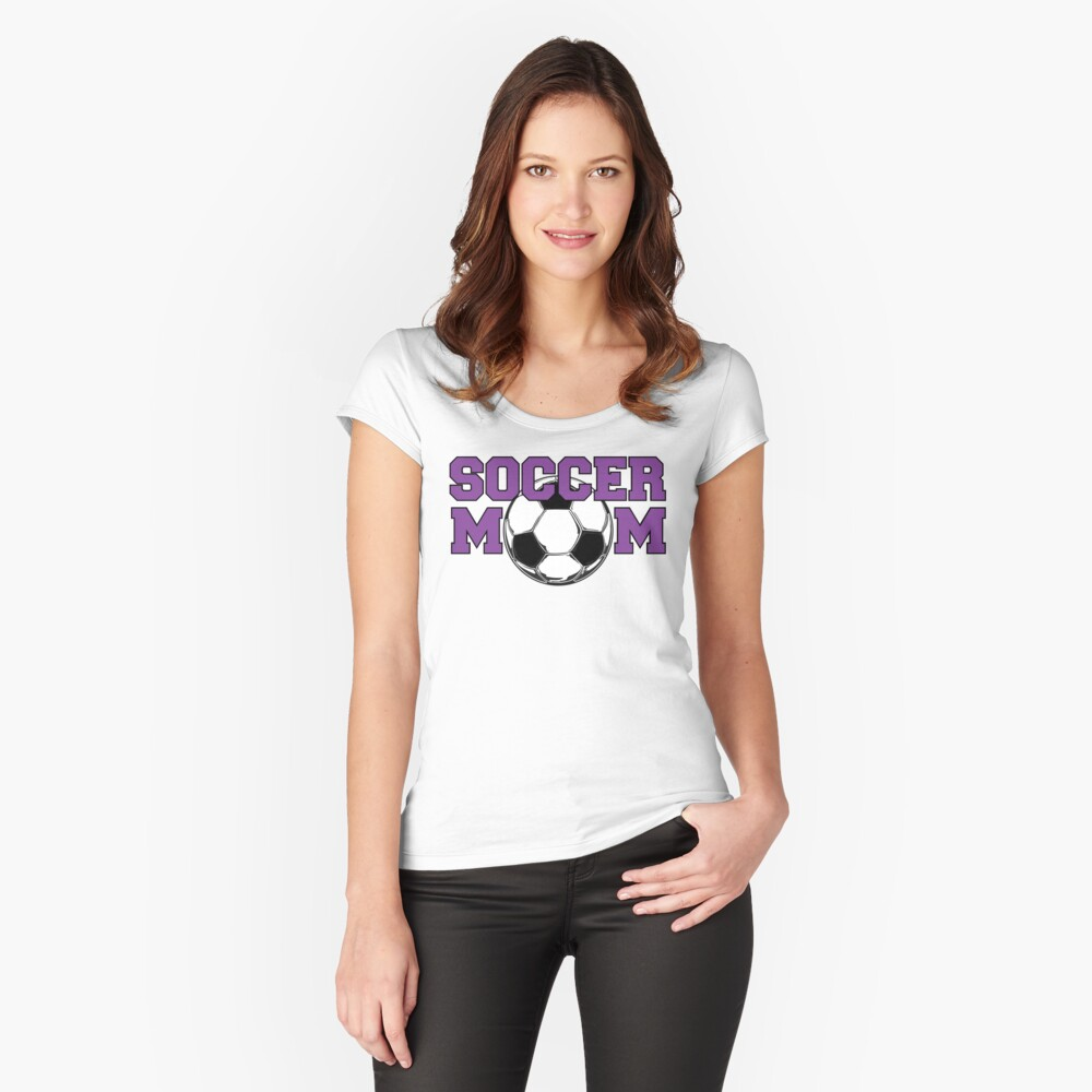 'Soccer Mom' in Purple Fitted Scoop T-Shirt