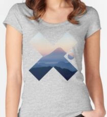 Cool Modern Volcano Landscape X Fashion Photography Clothing Design Women's Fitted Scoop T-Shirt