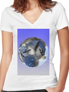 Blue Jays In a Ball Women's Fitted V-Neck T-Shirt