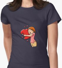Girl hugging heart. Womens Fitted T-Shirt