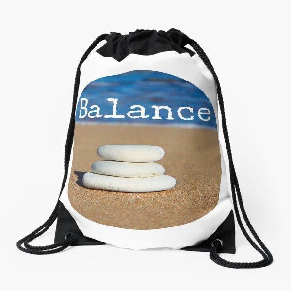 Meditation Quote - Mindful Wall Art Balance Drawstring Bag