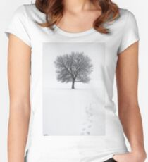 Solitude Footprints Women's Fitted Scoop T-Shirt