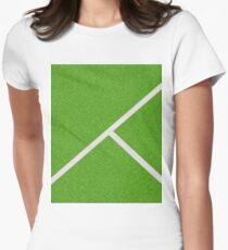 Top view of soccer field Women's Fitted T-Shirt