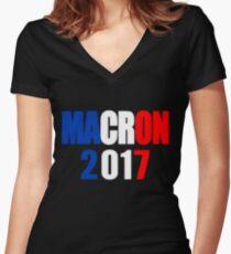 Macron For President Of France Women's Fitted V-Neck T-Shirt