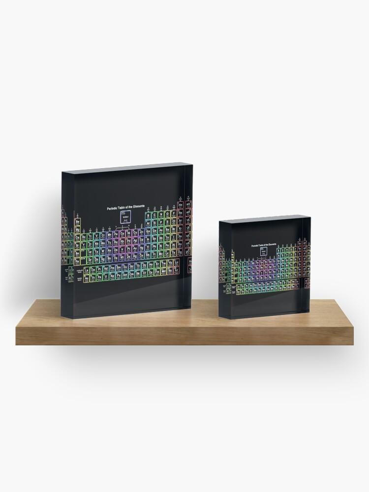 Alternate view of Neon Rainbow Periodic Table Acrylic Block
