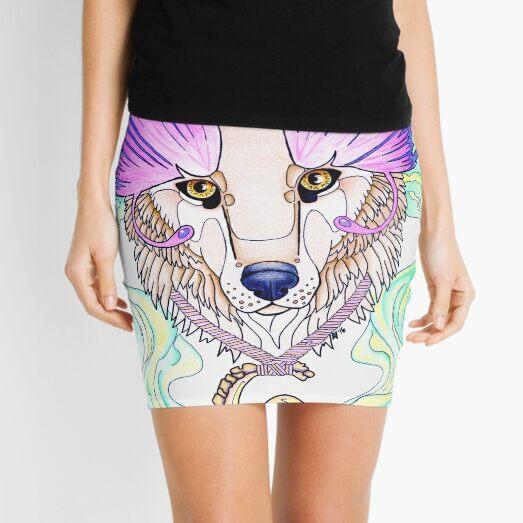 Wolf Totem drawing, butterfly wings, purple Mini Skirt
