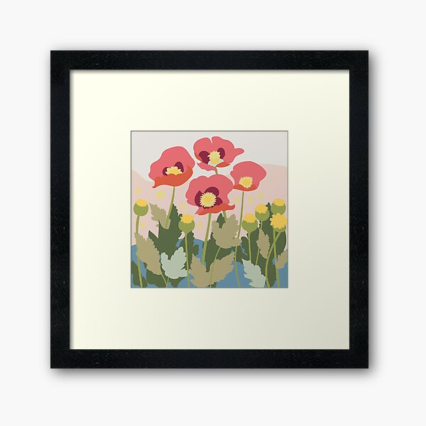 Poppies in the Field Framed Art Print