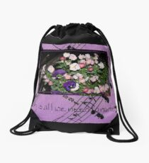 Inspired by pansies with quote and sheet music background Drawstring Bag