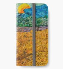 Evening Landscape with Rising Moon by Vincent Van Gogh iPhone Wallet/Case/Skin