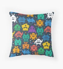 Colourful Pixel Monsters Pattern Throw Pillow