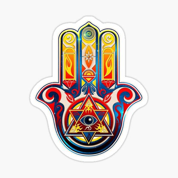 Hamsa Hand of Fatima, protection, symbol, triangle, all seeing eye of providence, god Sticker