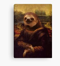 Sloth Mona Lisa Canvas Print