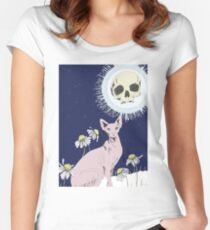 Sphinx And Skull Moon Women's Fitted Scoop T-Shirt