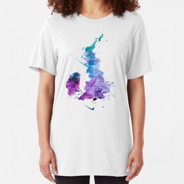 UK map in Watercolours Slim Fit T-Shirt