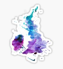 UK map in Watercolours Sticker
