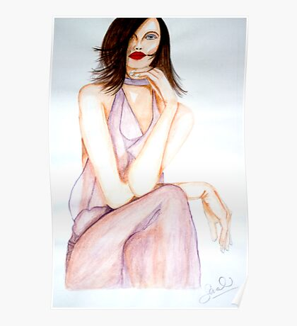 Woman in Watercolour Poster
