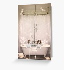 Wet welshies bath time Greeting Card