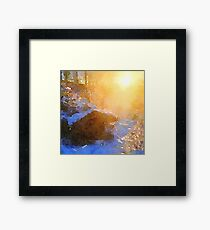 water color,hand painted, nature,sunrise in the forest, cabin,country Framed Print