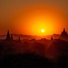 Myanmar. Bagan. View from the top of the Temple. Red Hue Sunset. by vadim19