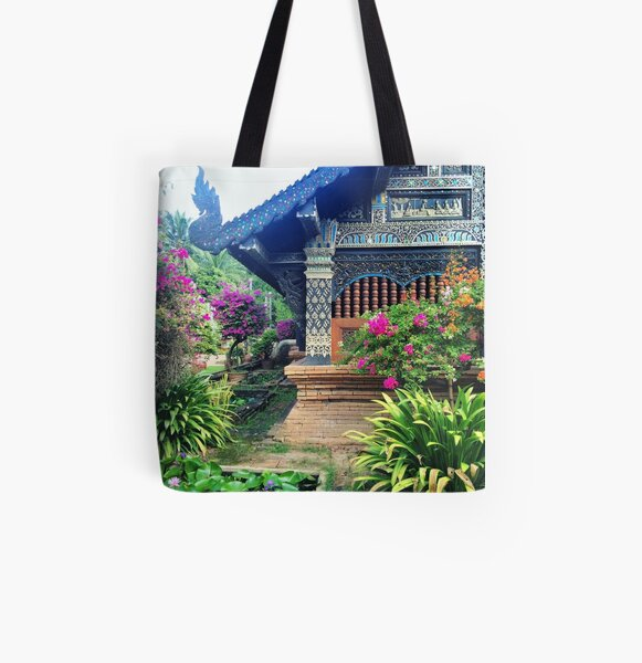Chiang Mai Temple Garden All Over Print Tote Bag