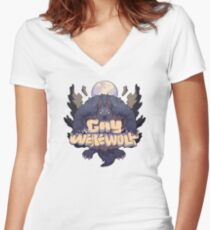 gay werewolf Women's Fitted V-Neck T-Shirt